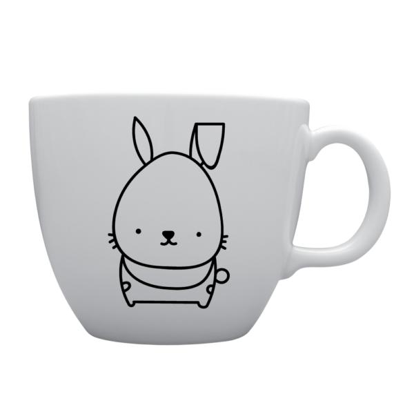 Biały kubek z królikiem o pojemności 1l